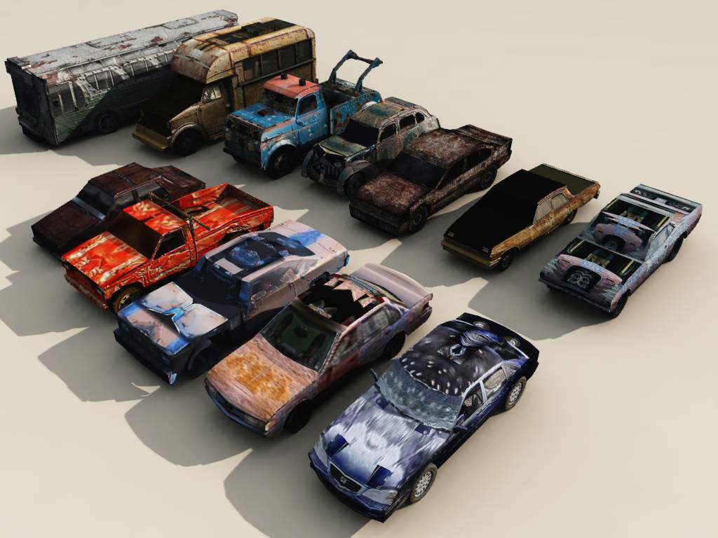 Low Poly Wrecked Cars Pack 1