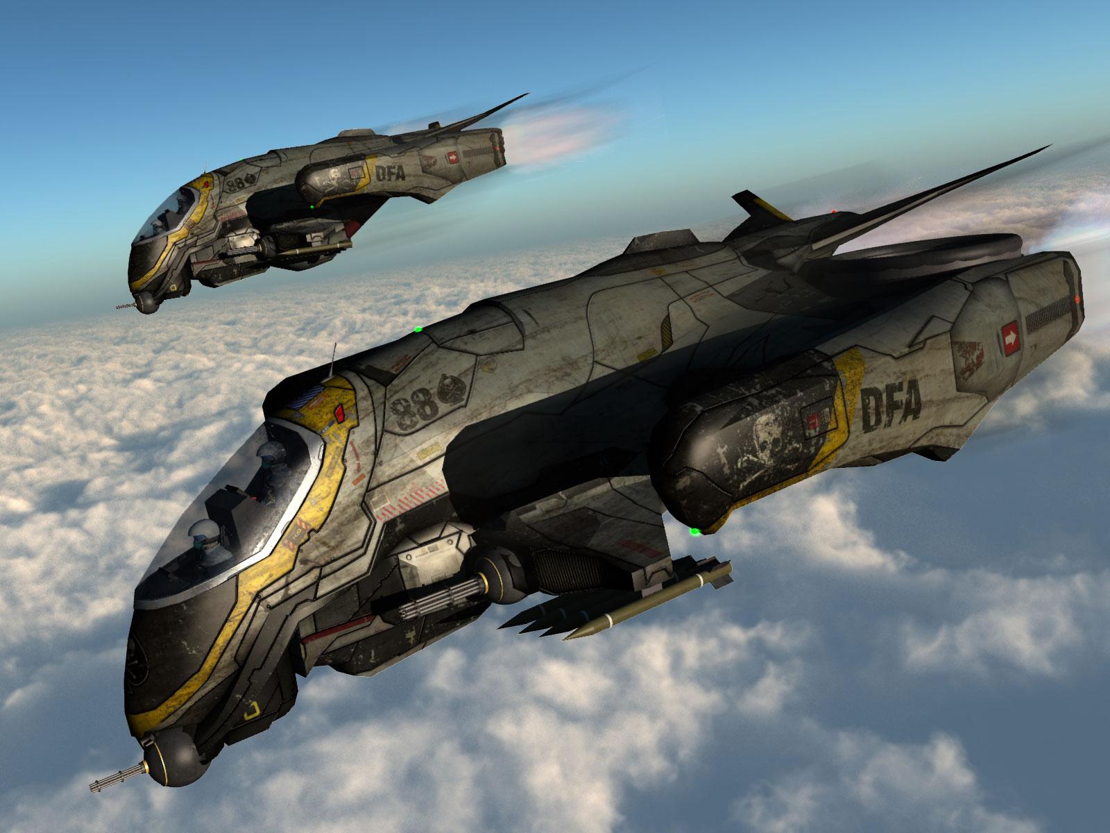 Sci-fi DFA-88 VTOL Gunship | Vue 3D Models